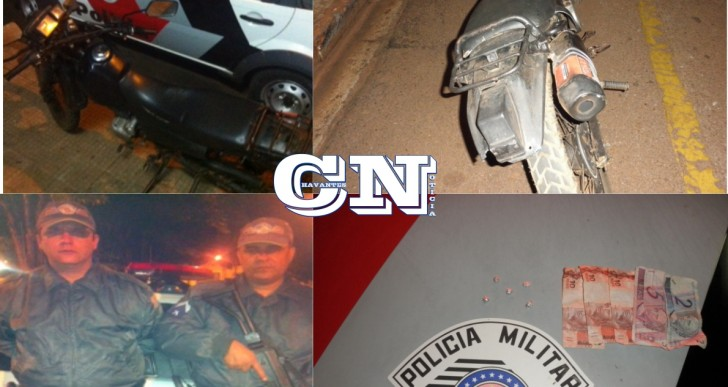 POLICIA MILITAR DE CHAVANTES APREENDE INDIVÍDUOS COM DROGAS E MOTOCLETA DE LEILÃO NA RUA ALTINO ARANTES