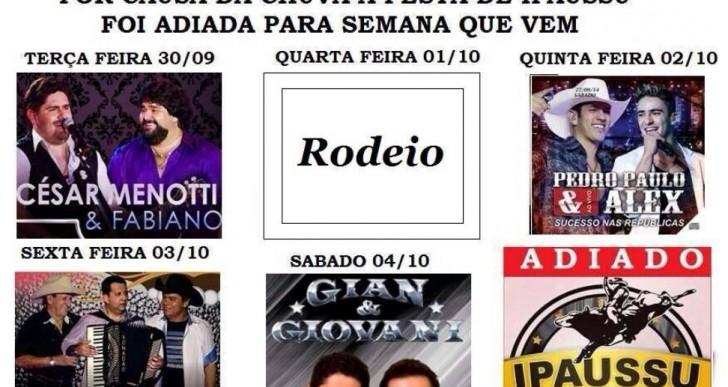 RODEIO E SHOWS DA FESTA DE PEÃO DE IPAUSSU FOI ADIADO POR MOTIVO DE CHUVAS