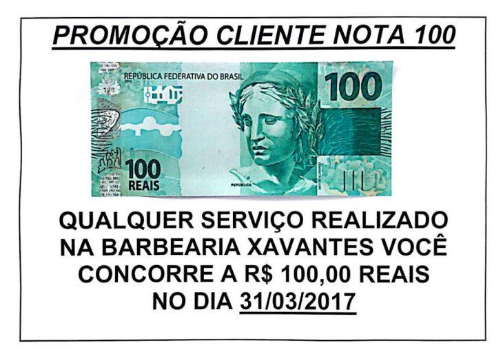 BARBEARIA XAVANTES REALIZA PROMOÇÃO CLIENTE NOTA 100