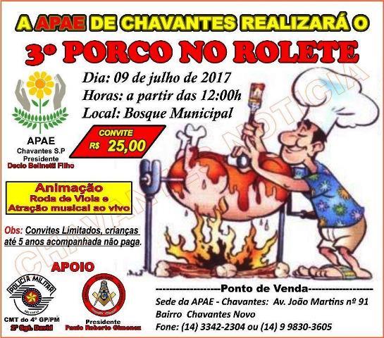 APAE DE CHAVANTES REALIZARÁ O 3º PORCO NO ROLETE
