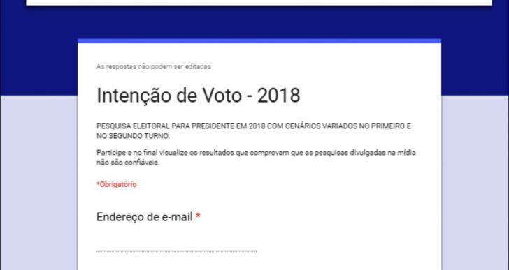 PESQUISA ELEITORAL PARA PRESIDENTE EM 2018 COM CENÁRIOS VARIADOS NO PRIMEIRO E NO SEGUNDO TURNO.