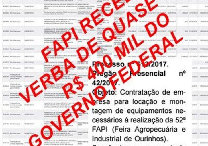 BOMBA – AIOR RECEBE VERBA FEDERAL DE R$ 395.500,00 E MESMO ASSIM DECIDE MANTER COBRANÇA DE SHOWS DA 51ª FAPI.