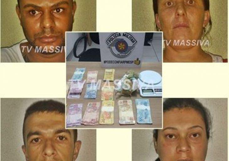 EQUIPES DE FORÇA TÁTICA E POLICIAIS MILITARES DE CHAVANTES PRENDEM QUATRO NO TRÁFICO DE DROGAS
