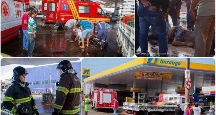 CAMINHÃO SEM FREIO ATINGE BOMBA DE COMBUSTÍVEL E ATROPELA FRENTISTA