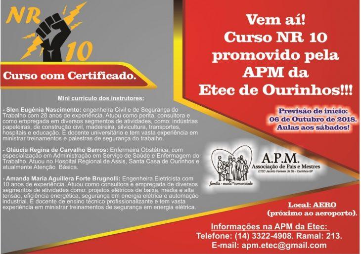 VEM AÍ! CURSO NR 10 PROMOVIDO PELA APM DA ETC DE OURINHOS!!!