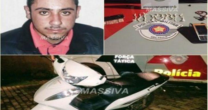 FORÇA TÁTICA RECUPERA MOTO FURTADA E PRENDE INDIVÍDUO NO TRÁFICO DE DROGAS NO JARDIM DO SOL II