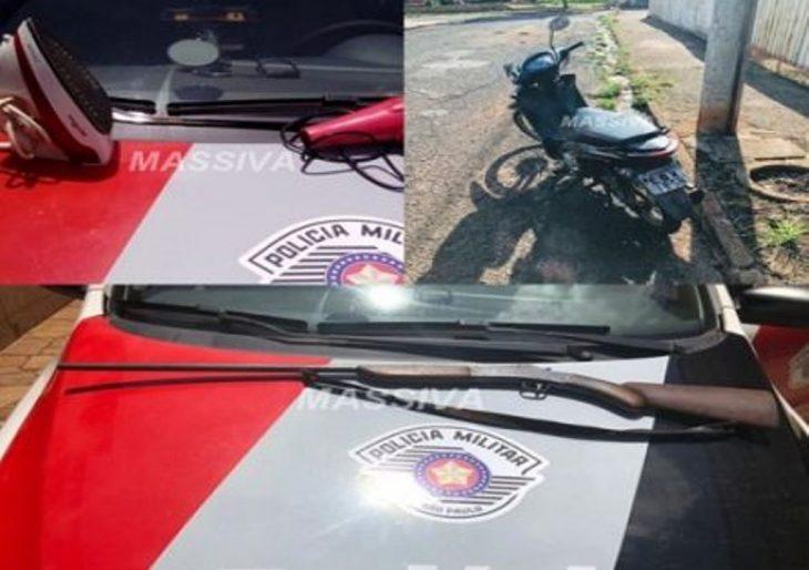 POLÍCIA MILITAR APREENDE ARMA E RECUPERA MOTO E OBJETOS ROUBADOS EM OURINHOS.