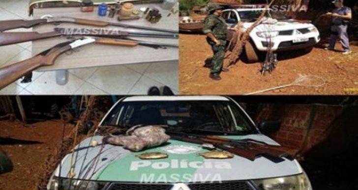 POLÍCIA MILITAR AMBIENTAL APREENDE ARMAS, PEIXES, E PRODUTOS DA FAUNA SILVESTRE EM PALMITAL.