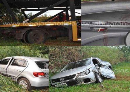 ACIDENTE ENVOLVENDO DOIS CARROS E UMA CARRETA DEIXA TRÊS FERIDOS NA BR 369