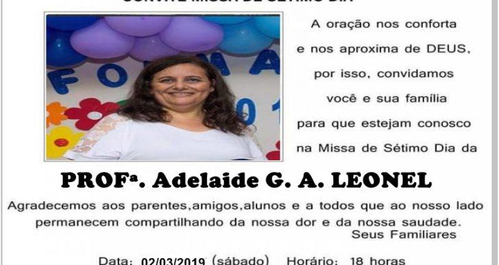 MISSA DE SÉTIMO DIA EM MEMÓRIA DA PROF ADELAIDE LEONEL
