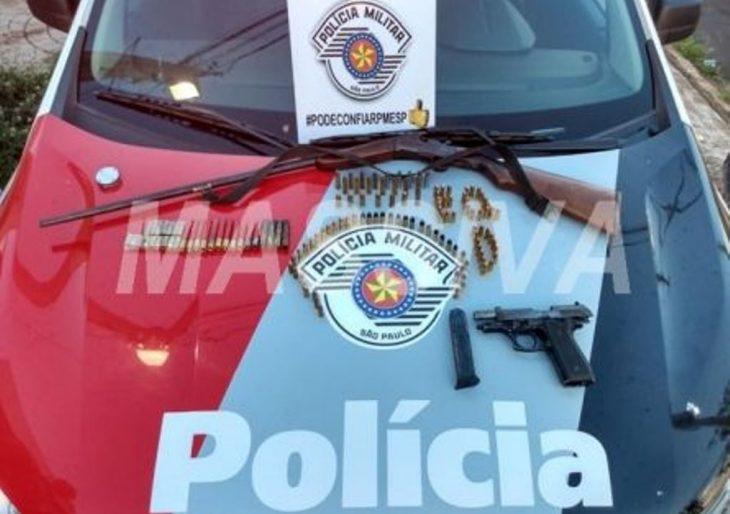 POLÍCIA MILITAR APREENDE ARMAS E MUNIÇÕES EM PESQUEIRO EM CANITAR.