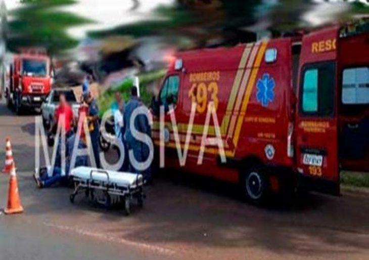MARIDO E MULHER SOFREM GRAVE ACIDENTE DE MOTO NO TREVO DA VILA BRASIL EM OURINHOS
