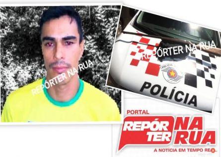 FORÇA TÁTICA E POLICIAIS MILITARES DE SALTO GRANDE PRENDEM INDIVÍDUO E APREENDEM ESPINGARDA.