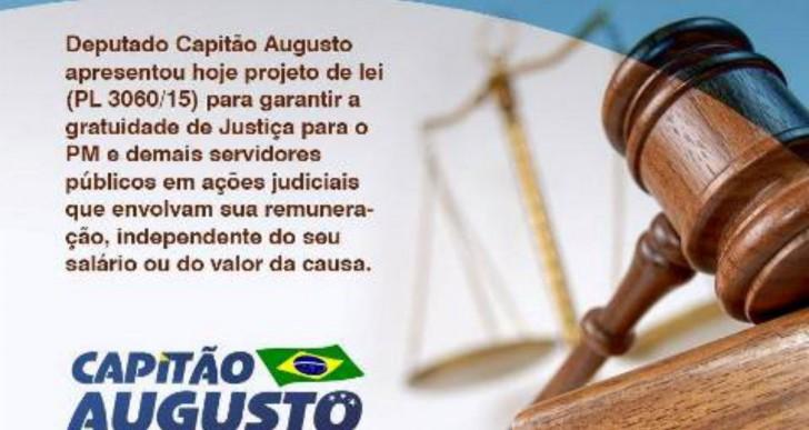 PROJETO DO DEPUTADO CAPITÃO AUGUSTO GARANTE GRATUIDADE NA JUSTIÇA PARA PMs