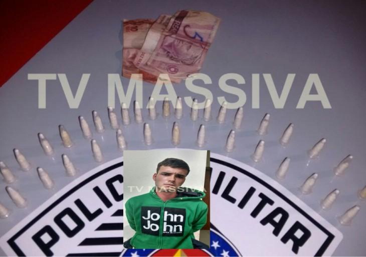 JOVEM É PRESO PELA FORÇA TÁTICA COM 38 PINOS DE COCAÍNA NO JD ITAJUBI EM OURINHOS