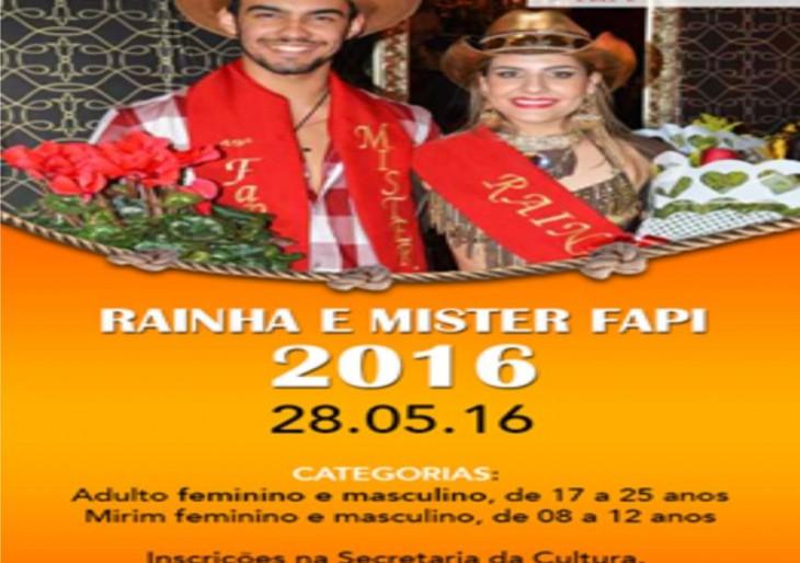INSCRIÇÕES ABERTAS PARA RAINHA E MISTER FAPI 2016