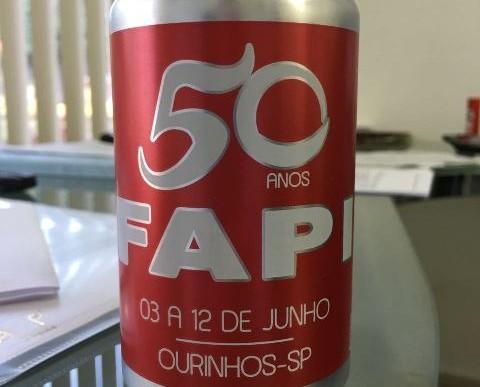 LATA DE CERVEJA FOI ESPECIALMENTE PERSONALIZADA PARA A COMEMORAÇÃO DE 50 ANOS DE FAPI