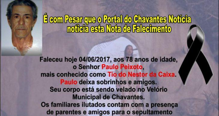 NOTA DE FALECIMENTO – FALECEU AOS 78 ANOS DE IDADE O SENHOR PAULO PEIXOTO