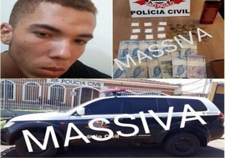 DISE PRENDE EM FLAGRANTE INDIVÍDUO NO TRÁFICO DE DROGAS PRÓXIMO AO TÊNIS CLUBE.