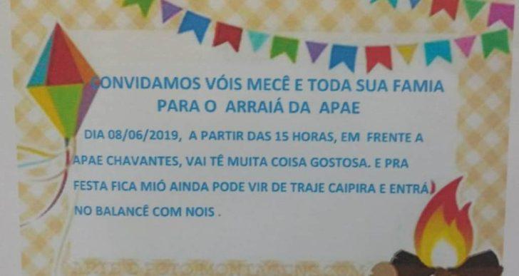 VENHA PRESTIGIAR NO DIA 08/06/2019 O ARRAIÁ DA APAE DE CHAVANTES