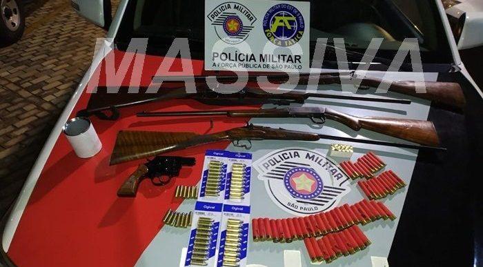 FORÇA TÁTICA APREENDE VÁRIAS ARMAS E MUNIÇÕES NA CIDADE DE CHAVANTES
