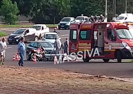 VEREADOR OURINHENSE ATROPELA CONDUTORA DE MOTOCICLETA NO TREVO DA VILA BRASIL.