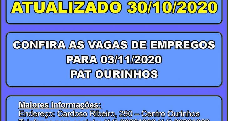 ATUALIZADO – VAGAS DE EMPREGOS DISPONÍVEIS NO PAT DE OURINHOS PARA O DIA 03/11/2020