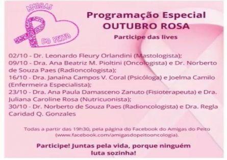 OUTUBRO ROSA LIVES COM MUITA INFORMAÇÃO DE QUALIDADE!