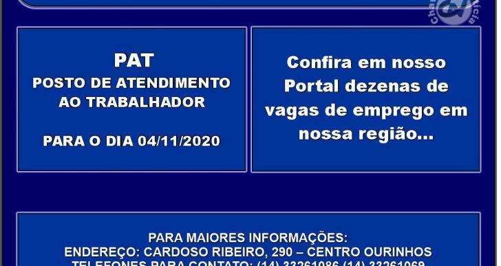 VAGAS DE EMPREGOS DISPONÍVEIS NO PAT PARA O DIA 04/11/2020