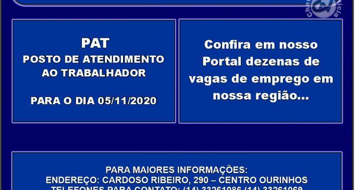 VAGAS DE EMPREGOS DISPONÍVEIS NO PAT PARA O DIA 05-06/11/2020